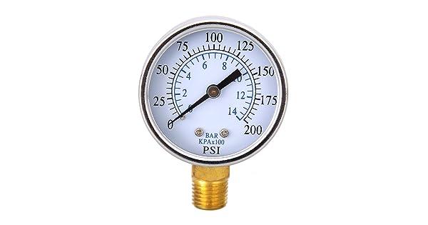 Demiawaking 0-200psi Mini Dial Air Compressor Oil Meter Hydraulic Pressure Gauge 1//4 NPT 0-14bar