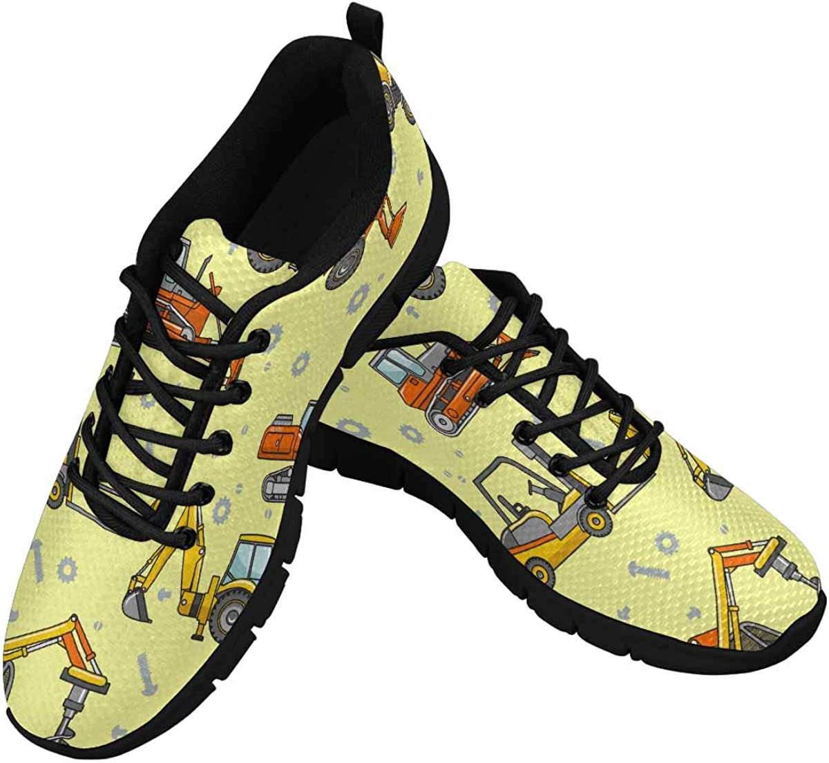 InterestPrint Heavy Machines Cartoon Machinery Women's Athletic Mesh Breathable Casual Sneakers Fashion Tennis Shoes