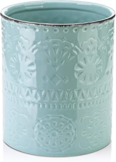 LIFVER Kitchen Utensil Holder, Large Ceramic Utensils Crock with Embossed Style, for Cooking Countertop, Blue