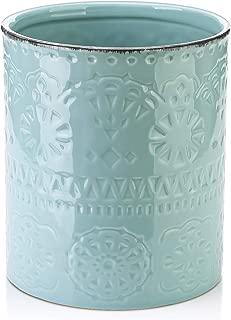 LIFVER Ceramic Embossed Crock Utensil Holder, Height 7.2 Inch, Diameter 6.2 Inch, Blue