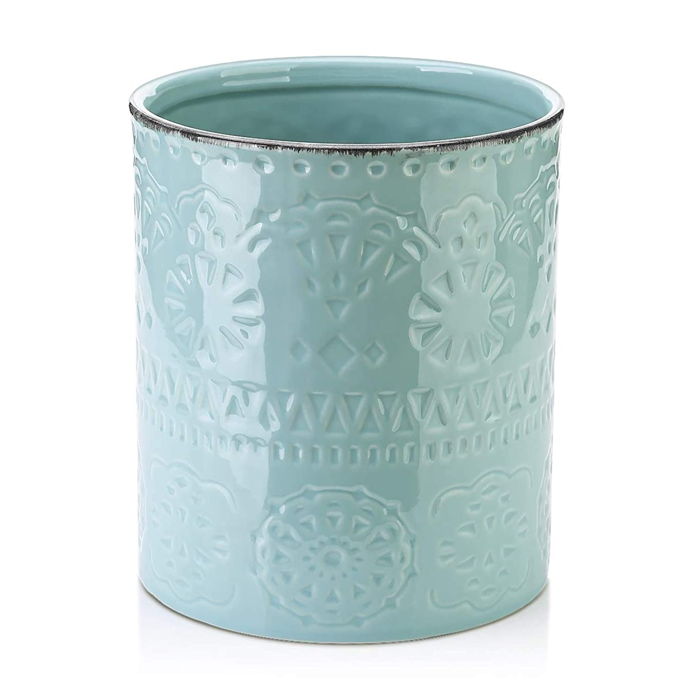 LIFVER Fine Embossed Ceramic Crock Utensil Holder, 7.2