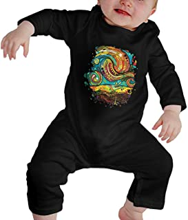 The Devil of Oil Painting and Graffiti, Night Sky Wallpaper,Starry Sky in Spring Black Baby Long Sleeve Crawler