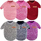 6 Pieces Dog Sweater Classic Warm Pet Sweaters Pet Dog Clothes Knitwear Warm Dog Pajamas for Small Dog Puppy Kitten Cat (S, Retro Colors)