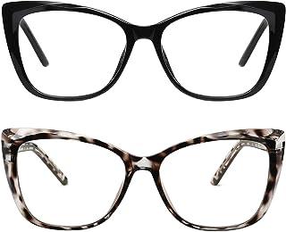 Me&Hz 2 Pack Cat Eye Blue Light Blocking Glasses Filter UV Glare Anti Eyestrain Computer Game Eyeglasses for Women Men