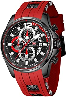 Men's Watches Chronograph Casual Waterproof Quartz Watch with Fashion Silicon Strap for Sport & Business Work MF0350