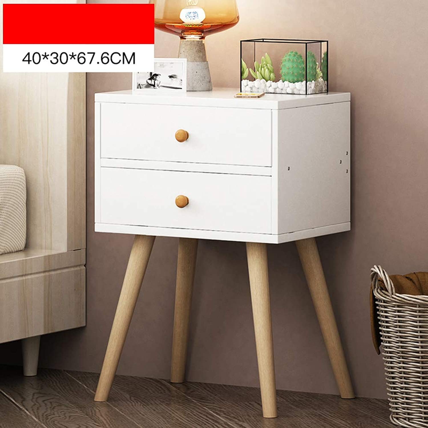 Coffee Table Chest of Drawers, with 2 Drawers Closed Storage Solid Wood Cabinet Feet Simple Bedside Table, Household Bedroom Bedside (color   B)