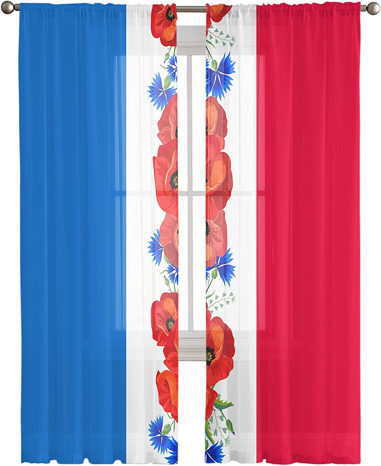 Voile Sheer Curtains 84inch Limited price Long 2 Rod US Poppies Max 87% OFF Flag Po Panels