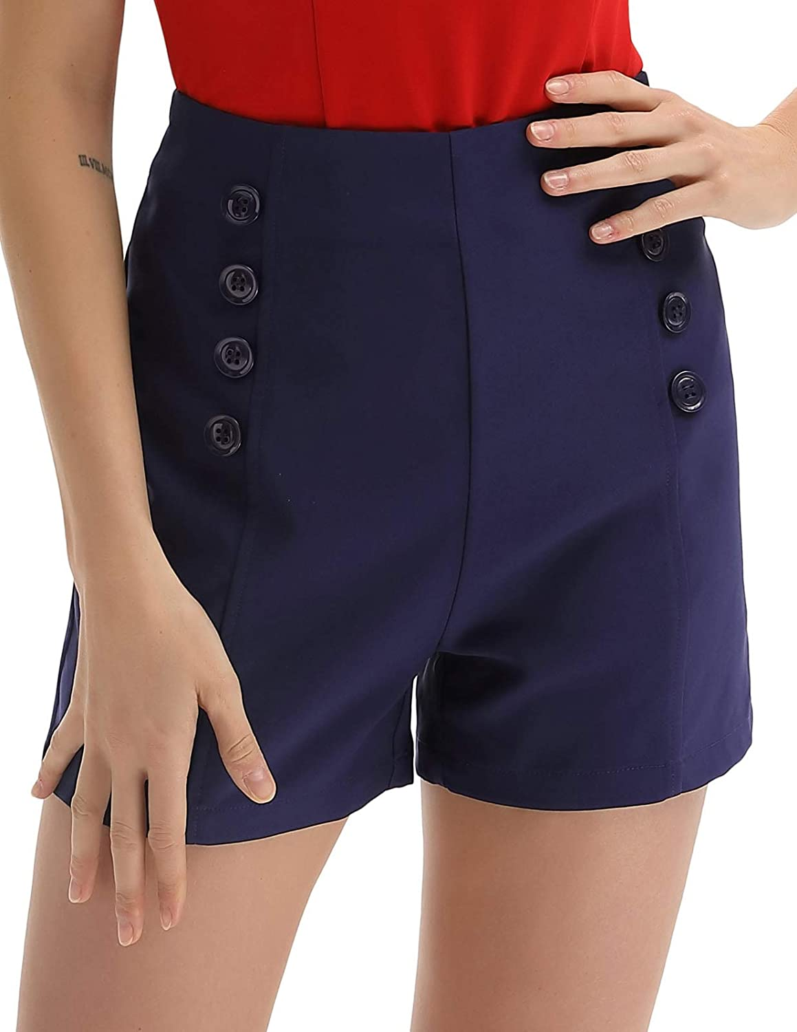 1960s Style Clothing & 60s Fashion Belle Poque Women High Waist Stretch Shorts Vintage Button Sailor Shorts BP849 $20.99 AT vintagedancer.com