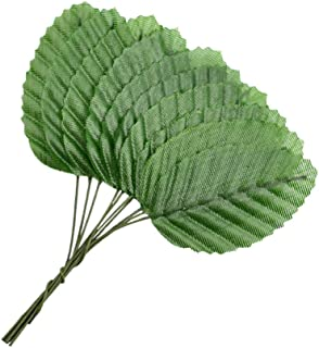 HOKPA Artificial Silk Green Leaves, Fake Faux Wired Single Leaf for Crafts Scrapbooking Floral Arrangements Home Kitchen Wedding Garland Party Decorations (200pcs)