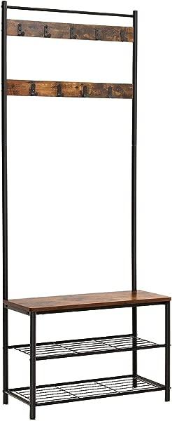 VASAGLE 工业衣帽架大厅树入口通道鞋凳储物架收纳架组织者口音家具金属框架 UHSR41BX 乡村棕色