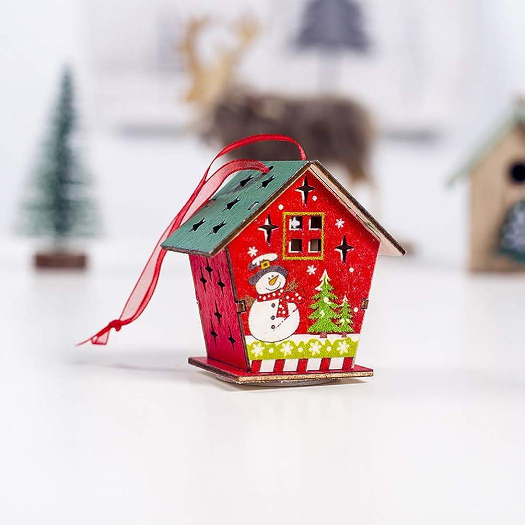 ショットミニ縁ACHICOO クリスマス飾り 吊り下げ式 木の家の形 カラフル ライト付き クリスマスツリーの装飾 E雪だるま