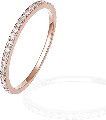 popular OPTIMISTIC 2mm Ring lowest Band for Women Copper Ring Rose Wedding Bands Zircon Stone Women's Eternity online Anniversary Ring Band, Size 6-10 online
