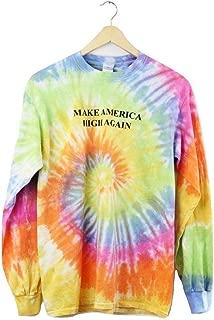Make America High Again Pastel Rainbow Tie-Dye Graphic Long Sleeve Unisex Tee