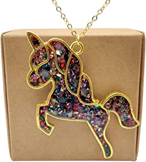 Unicorno Pegasus Colorate Gemme Blu Luminoso Si illuminano al buio Pendente Catena Placcato Oro 18k Collane