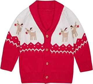 WESIDOM Baby Girls Boys Cardigan Sweater,Toddler Kids Christmas Deer Long Sleeve Button Closure Sweater Coat