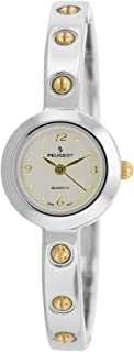Peugeot Women's Skinny Cuff Hinge Bangle Watch with Gold Screws Head Accents