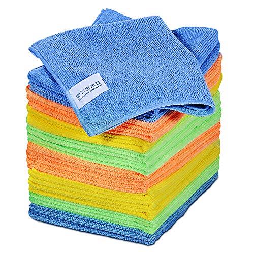 Masthome 24 Stück Putzlappen Set Vier-Färbig Putztücher 40 x 30cm Mikrofasertuch Multifunktion Reinigungstücher für Küche Auto Möbel