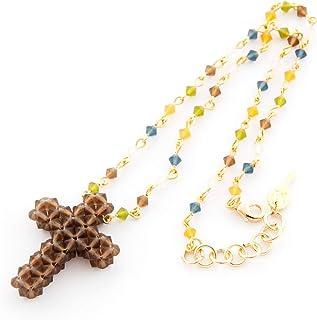 Collana girocollo donna corta. Catena del rosario in vari colori abbinata a un ciondolo a croce. Fatto a mano con tupi Swa...