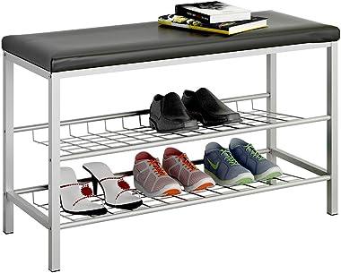GHQME 3-Tier Entryway Shoe Rack Bench, Shoe Organizer Storage Shelf, Leather Cushion & Metal Frame, Living Room Hallway Save