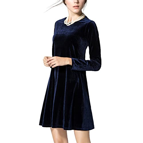 985212a33c4e K S Women s New A-Line Loose Crewneck Print Casual Velvet Dress Party Short  Dress