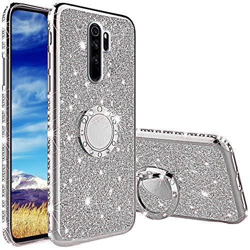 Compatibile con Cover Xiaomi Redmi Note 8 PRO, Glitter Lusso Strass Diamante Bling Diamanti Custodia con 360 Gradi Rotante Supporto Ring Kickstand Protezione Morbido Silicone TPU - Argento