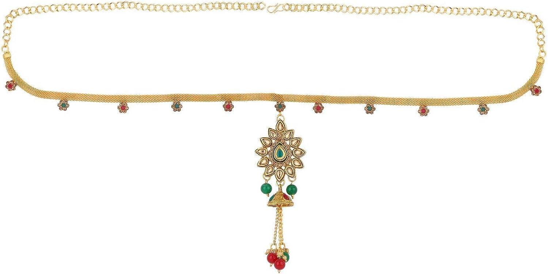 Efulgenz Indian Bollywood Vintage Gold Plated Pearl Kundan Rhinestone Crystal Waist Belt Belly Chain Kamarbandh Bridal Body Jewelry