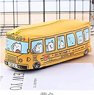 YWSCXMY-AU Cute School Buspen Large Capacity Canvas Car Pencil Case Student Stationery Storage Bag (Color : Yellow)