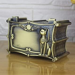 RANYAND Vintage Egypt Bastet Cat Anubis Jewelry Box Gift Storage Case Home Metal Art Craft Decoration Organizer