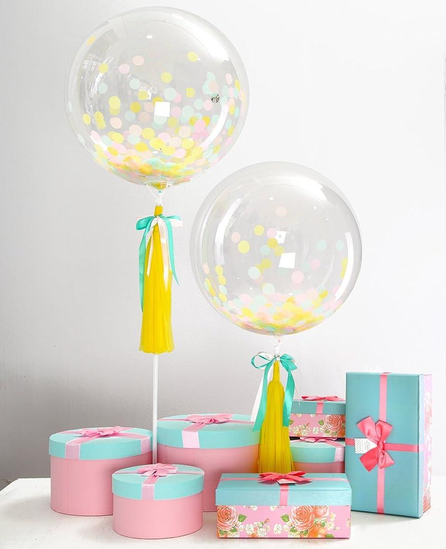 Eanjia Color Unicorn Confetti Balloon Set of 2, 20th,30th Happy Birthday Party Decoration Yellow - Tassel Bowknot DIY Kit Bubble Balloon Non Helium Non Latex Round Balloon (Color Unicorn)