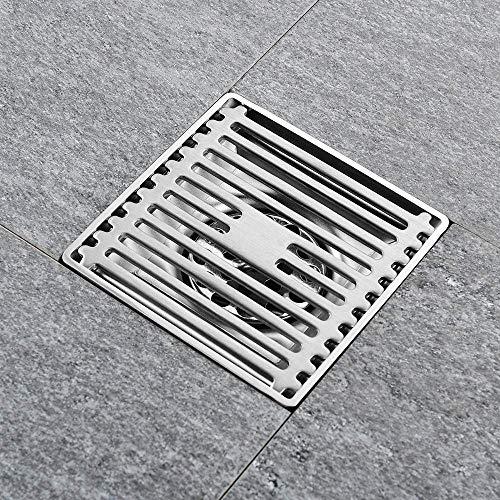 DYR 4-Zoll-quadratischer Duschablauf mit abnehmbarem Abdeckgitter aus Edelstahl 304, Bodenabläufe mit hohem Durchfluss, Tiefe Abdichtung