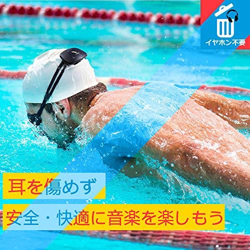 Beker骨伝導水泳防水MP3プレーヤー8GBブラックスポーツ用防水IPX8/イヤホン不要/ワイヤーフリー/ウェアラブルミニスピーカー