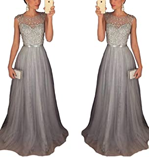 Half Flower Bridal Women's Rhinestone Beaded Evening Dress A-line Prom Dress and Tulle Party Dress