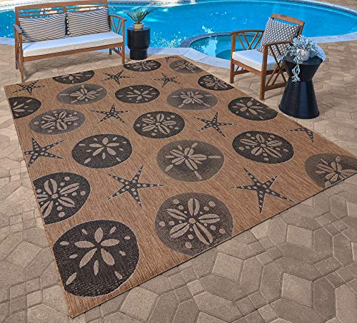 Gertmenian Tropical Collection Outdoor Rug Patio Area Carpet 5x7 Standard Sand Dollar Starfish Nut Brown Black