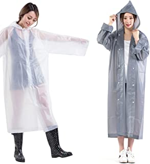 Reusable Rain Poncho Adults Plastic Raincoat Drawstring Hood 2 PACK