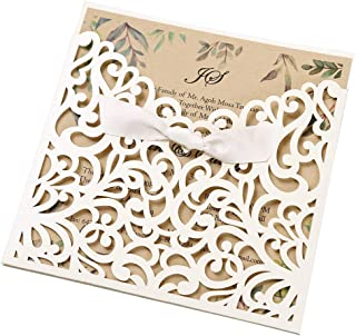 Dream Bulit 50pcs Square Ivory Laser Cut Wedding Invitations Cards with Kraft Paper Invitation with Bow Lace Sleeve Engagement Bridal Shower Birthday Quinceanera,CW6179W (50)