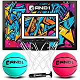 "AND1 Mini Basketball Hoop: 18""x12"" Pre-Assembled Portable Over The Door with Flex Rim, Includes Two Deflated 5"" Mini Basketball with Pump, for Indoor, Teal/Pink"