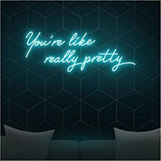 Neon Signs You are Like Really Pretty, Transparent Acrylic Light Up Light Sign for Room Bedroom Wall Indoor Decor (Color :...