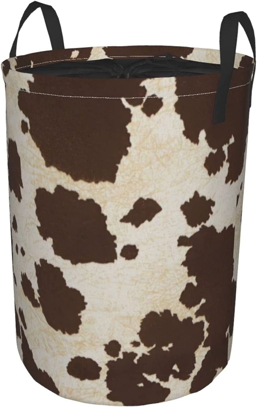 Brown Super Special SALE held Cowhide specialty shop Laundry Hamper with Dirty Clothes Li Handle