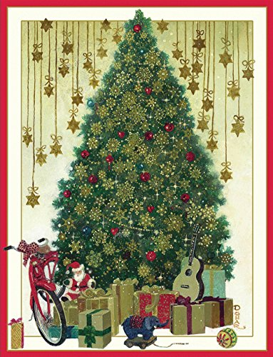 Entertaining with Caspari Tree with Gold Snowflakes Toys Christmas Cards (Box of 16)