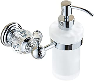 OWOFAN Liquid Bathroom Soap Dispenser Wall Mount Frosted Glass Bottle Pump Head with Crystal, Brass Chrome Silver