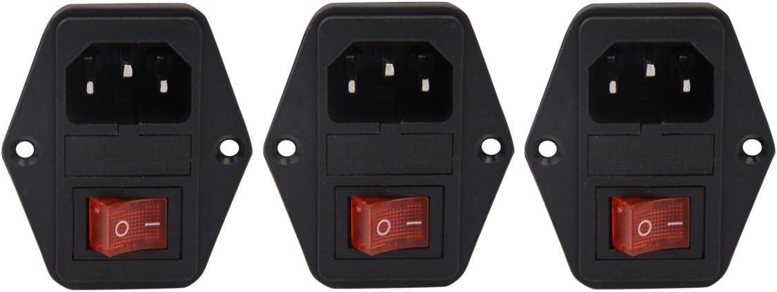 Enchufe de módulo de entrada de 3 unidades Interruptor fusible macho 5A 10A 250V 3 pines IEC320 C14 para equipos de laboratorio, dispositivos médicos, computadoras y gabinetes de juegos