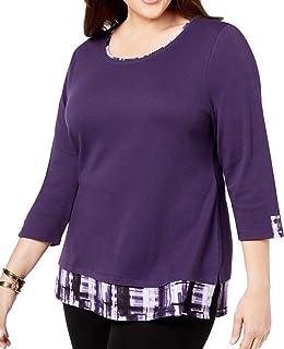 Karen Scott Women's Top Purple US 2X Plus Knit Hangdown Plaid Scoop