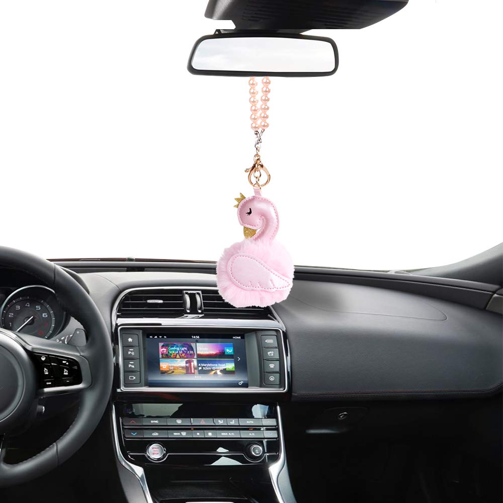 Crystal Diamond Hangbag//Rose//Fairy//Unicorn//Luxury Pearl Star Rearview Mirror Hanging Bling Charm Girly Decoration for Car//Home//Office MINI-FACTORY Car Interior Hanging Ornament Rose