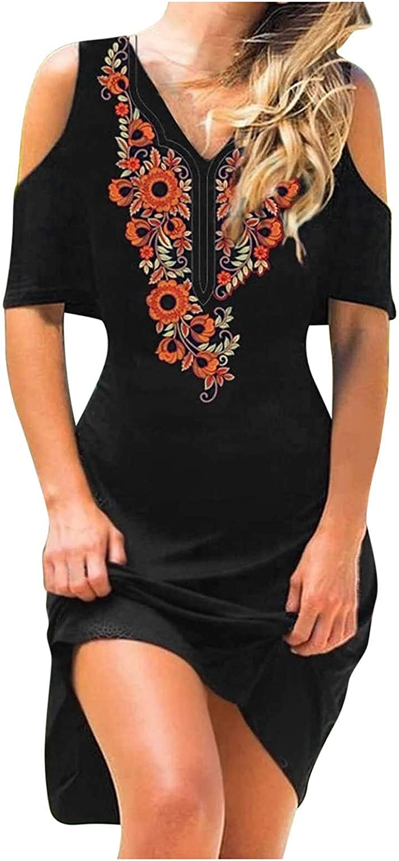 WYTong Women Casual Floral Print Regular dealer store Long V-Neck Shoulder Dress Cold