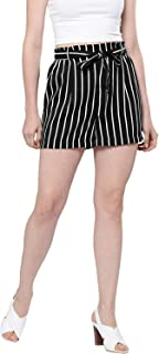BESIVA Women's Stripe Belted Shorts