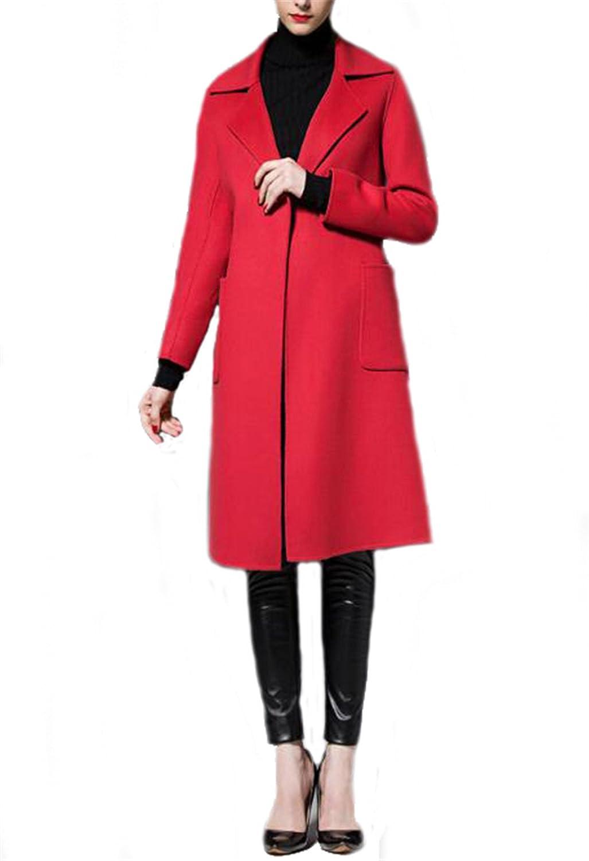 Allonly Women's Long Warm Woolen Coat Dress Jacket Winter