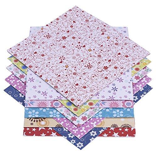 72 Blatt Origami-Papier 15 x 15 cm im 12 Unterschiedliche Farben und Muster