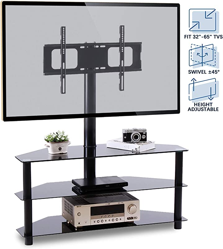 Rfiver Corner Floor TV Stand With Swivel Mount For Most 32 65 LED LCD OLED And Plasma Flat Or Curved Screen TVs Height Adjustable 3 In 1 Entertainment Stand In Black TW2002