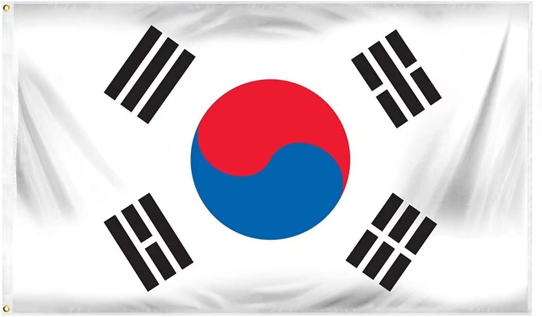 DANF FLAG South Korea Flag 3x5 Foot Polyester S Korean National Flags Polyester with Brass Grommets 3 X 5 Ft