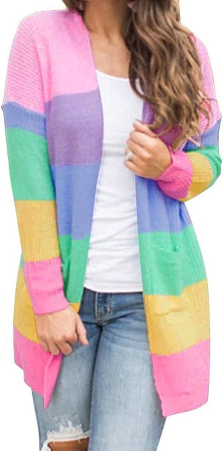 HZSONNE Women's Casual Color Stripe Open Front Slouchy Cardigan Lightweight Crochet Side Pocket Knit Sweater Blouse
